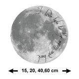 I Love You To The Moon And Back Wall Sticker - Size Guide