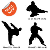 Martial Arts Wall Stickers - Pack of 3 Karate / Taekwondo Sports Action Decals