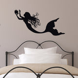 Mermaid Collecting Pearls Wall Sticker - Black