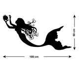 Mermaid Collecting Pearls Wall Sticker - Size Guide