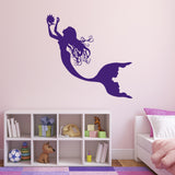 Mermaid Collecting Pearls Wall Sticker - Purple