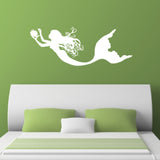 Mermaid Collecting Pearls Wall Sticker - White