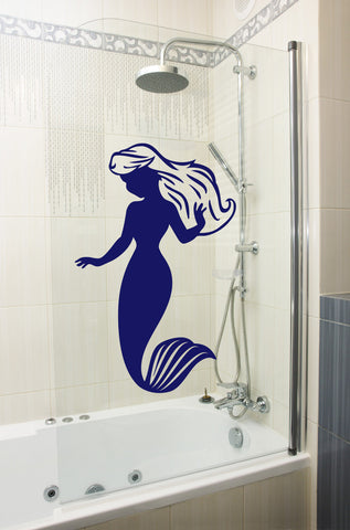 Mermaid Wall Sticker - Dark Blue - Large