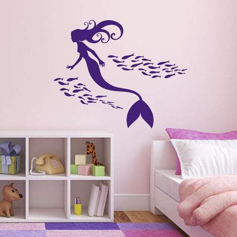 Mermaid and Shoal of Fish Wall Sticker - Purple
