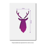 CraftStar Mini Stag Head Stencil - Size Guide