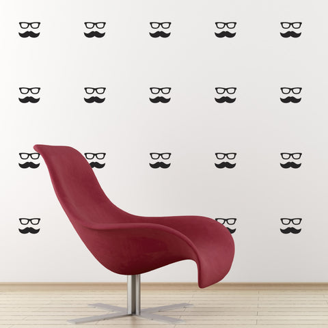 Mini Moustache and Geek Glasses Wall Stickers - Black