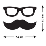 Mini Moustache and Geek Glasses Wall Stickers - Size Guide