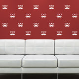 Mini Moustache and Geek Glasses Wall Stickers - White