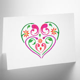 Small Flourish & Flower Pattern Heart Stencil on Card