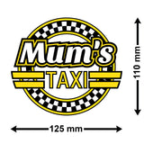 Mum's Taxi Car Sticker - Size Guide