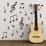 Music Symbol Wall Stickers - Pack of 50 Music Notes - Black