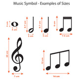 Music Symbol Wall Stickers - Pack of 50 Music Notes - Sizes