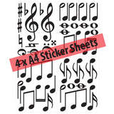 Music Symbol Wall Stickers - Pack of 50 Music Notes - Layout