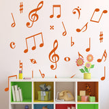 Music Symbol Wall Stickers - Pack of 50 Music Notes - Orange