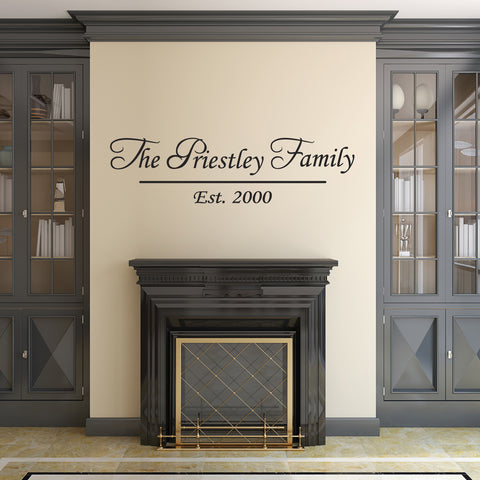 Personalised Family Name Wall Sticker - Black