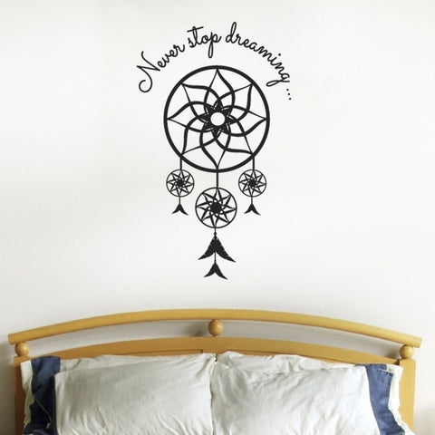 Never Stop Dreaming - Dream Catcher Wall Sticker - Black