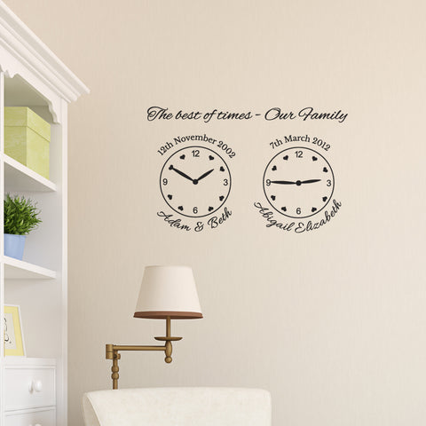 Our Family Wall Clock Stickers - Family Celebrations - 2 Clocks