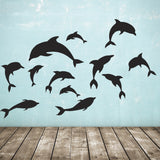 Pack of 12 Dolphin Wall Stickers - Black