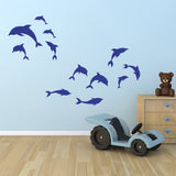 Pack of 12 Dolphin Wall Stickers - Dark Blue