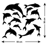 Pack of 12 Dolphin Wall Stickers - Size Guide