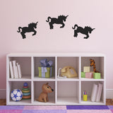 Pack of 3 Unicorn Wall Stickers - Black
