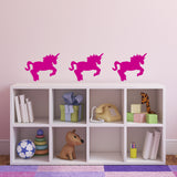 Pack of 3 Unicorn Wall Stickers - Dark Pink