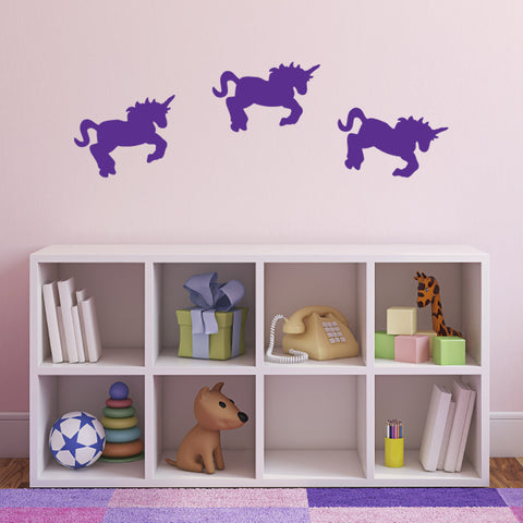 Pack of 3 Unicorn Wall Stickers - Purple