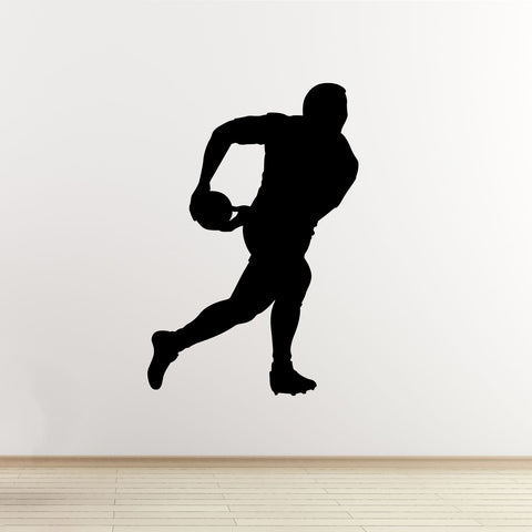 Passing Rugby Player Wall Sticker - Black