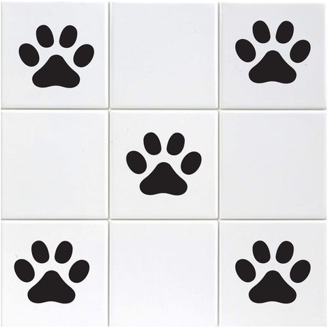 Paw Print Tile Stickers - Black