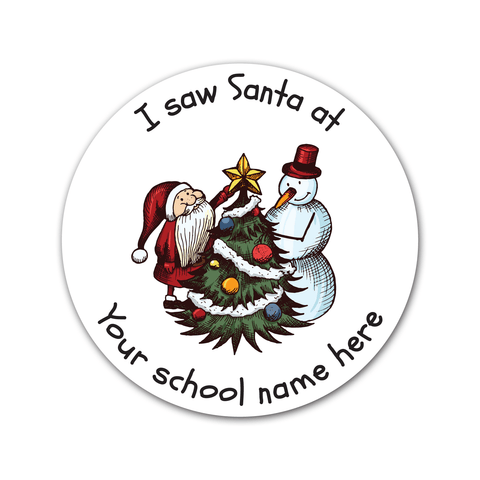 Personalised Santa's Grotto Sticker - Santa and Snowman