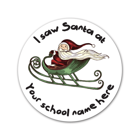 Personalised Santa's Grotto Sticker - Santa in Sleigh
