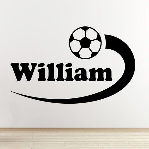 Personalised Boys Name Football Wall Sticker - Black