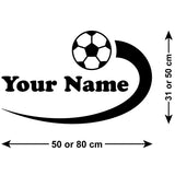 Personalised Boys Name Football Wall Sticker - Size Guide