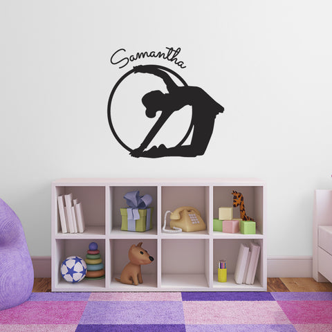Personalised Gymnast With Hoop - Black