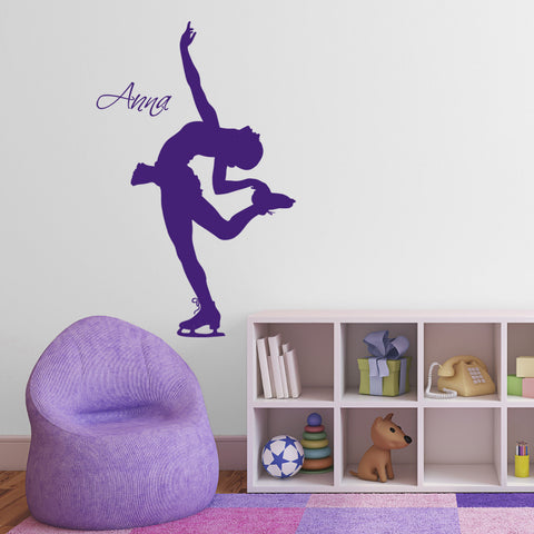 Personalised Ice Skater Wall Sticker - Purple