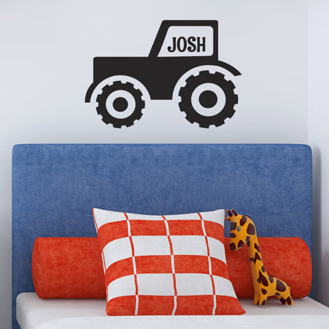 Personalised Tractor Wall Sticker - Black