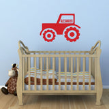 Personalised Tractor Wall Sticker - Red