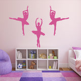 Set of 3 Ballet Dancer Wall Stickers - Dark Pink
