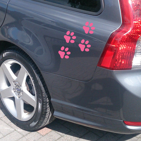 Pink Paw Print Car Stickers