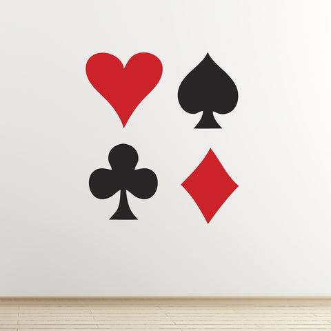 Playing Card Symbol Wall Stickers Heart Spade Club And Diamond