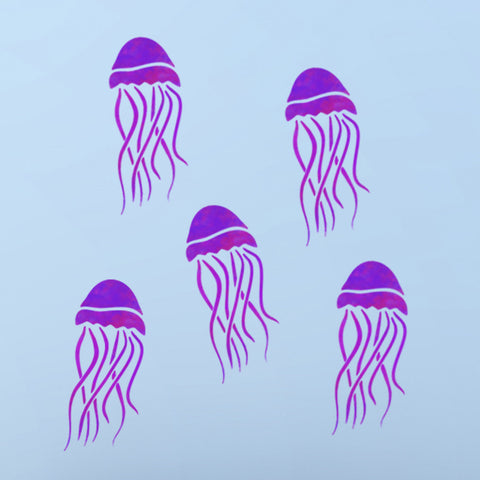 Sea Themed Craft //Tile //Wall Stencil CraftStar Mauve Stinger Jellyfish Stencil