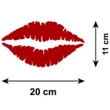 Red Lip Print Car Sticker - Lipstick Kiss - Size Guide