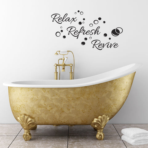 Relax Refresh Revive Wall Sticker - Black