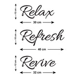 Relax Refresh Revive Wall Sticker - Size Guide