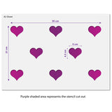 CraftStar Seamless Pattern Heart Stencil Size Guide