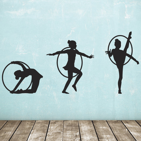 Rhythmic Gymnast Wall Stickers - Pack of 3 - Black