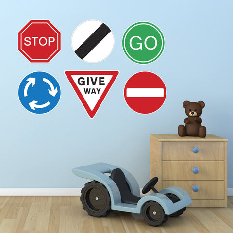 Road Sign Wall Stickers - Set of 6