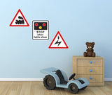 Road Sign Wall Stickers - Train Level Crossing