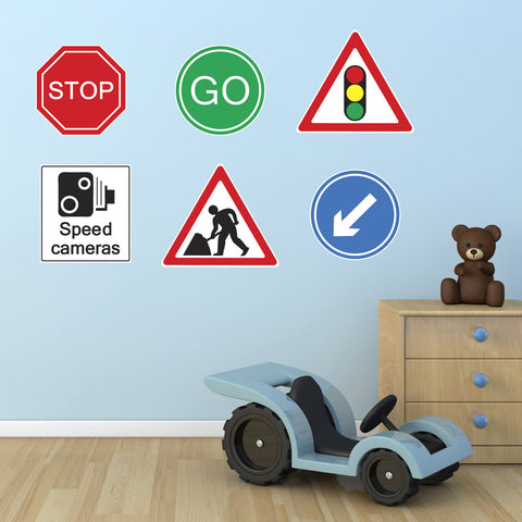 Road Sign Wall Stickers - Roadworks Signs