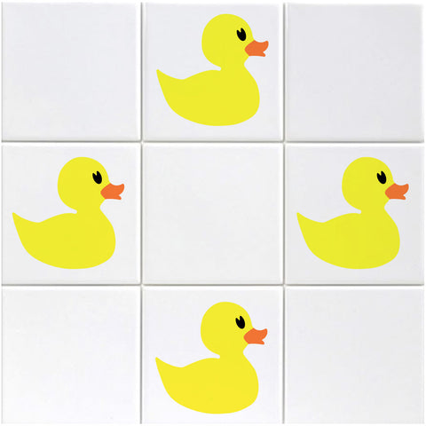 Rubber Duck Tile Stickers on Bathroom Tiles